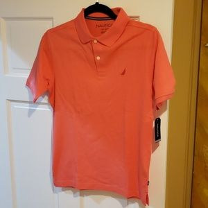 Nautica Pique Polo Shirt Sz L 14-16 Guava Color
